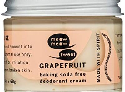 Meow Meow Tweet, Baking Soda Free Grapefruit Deodorant Cream, 2.4 oz