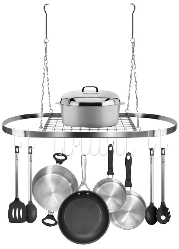 Sorbus Pot and Pan Mounted Storage Rack for Ceiling with Hooks - Hanging Chrome
