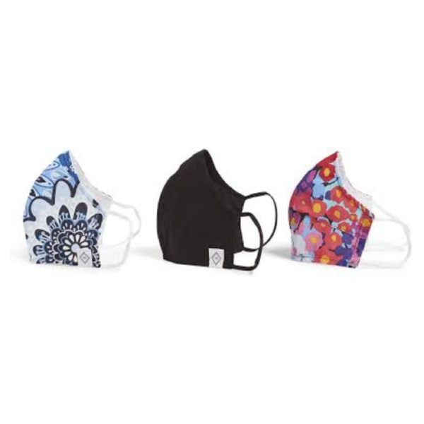 Vera Bradley 3-Pack Double-Layer Cotton Face Mask with Filter Pocket