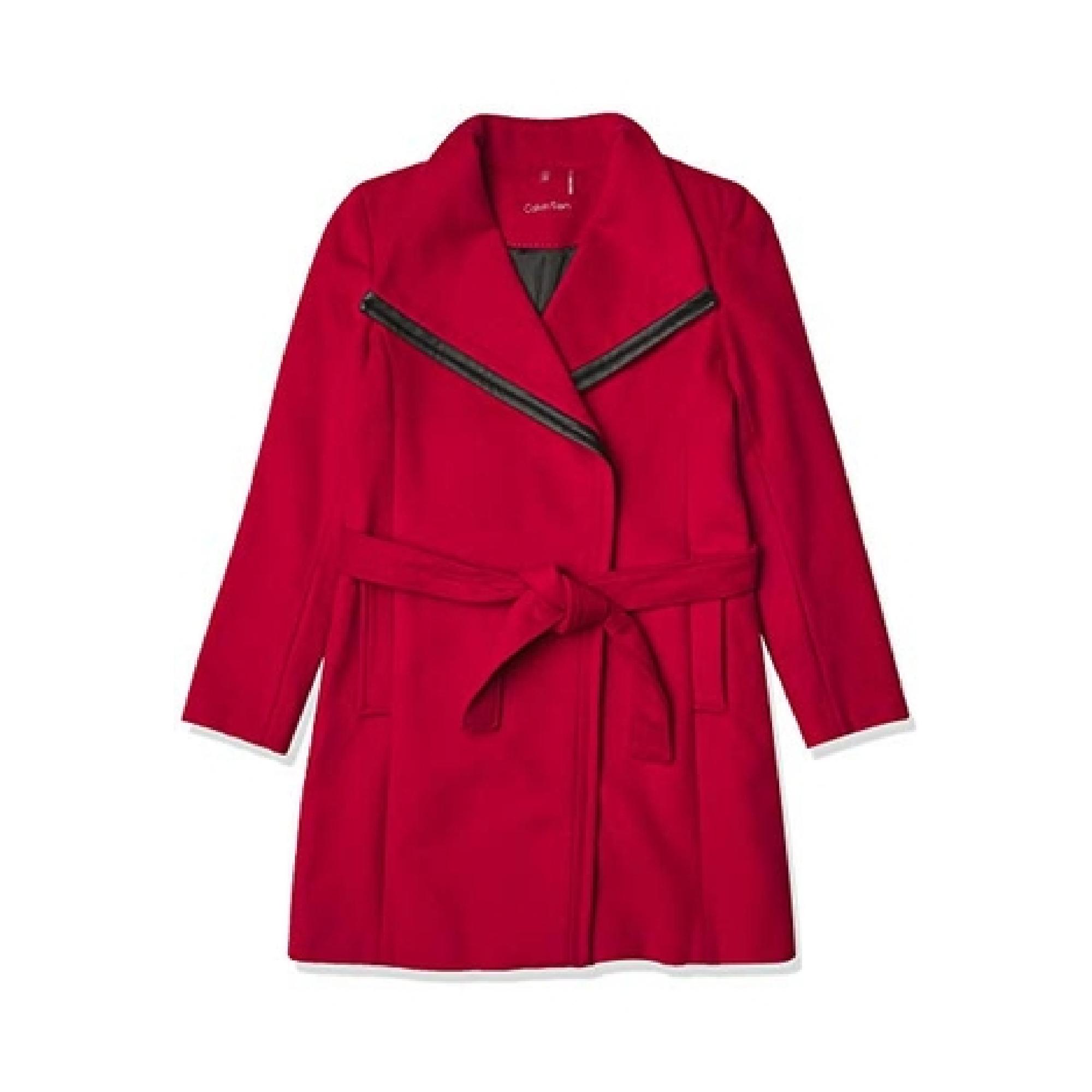 Calvin Klein Women's Belted Wrap Wool Coat