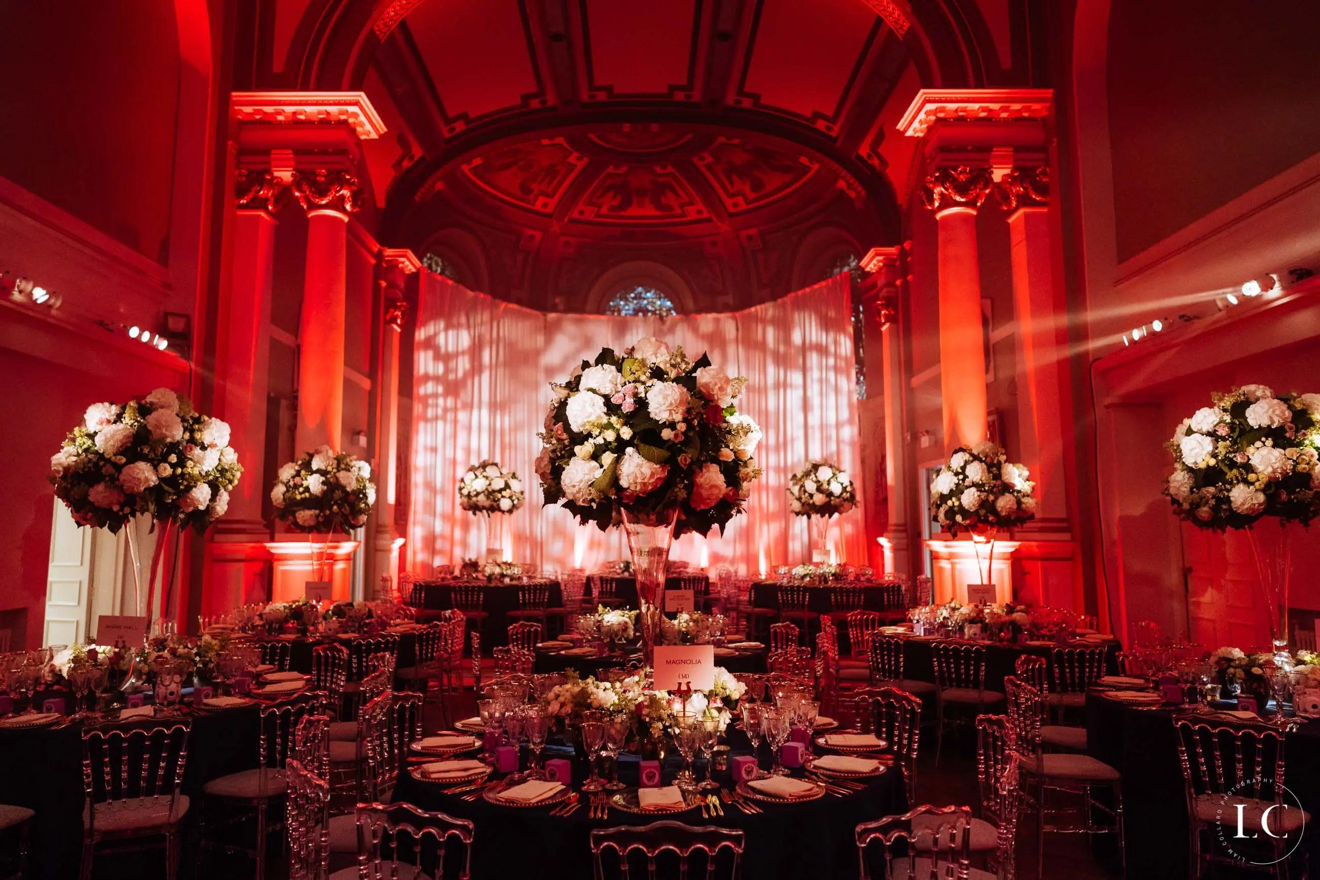 Red lighting of wedding venue
