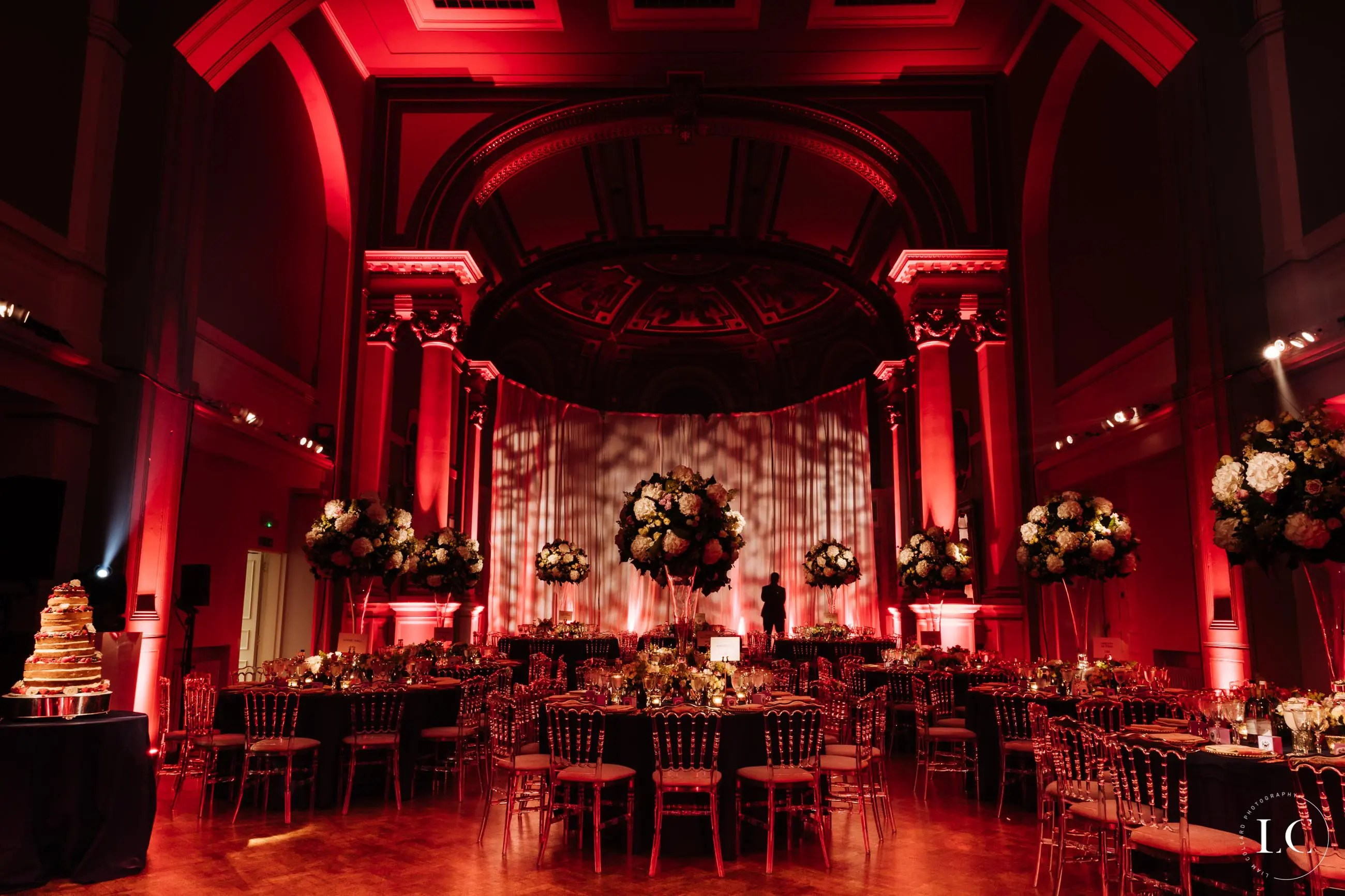 Wedding venue red lighting