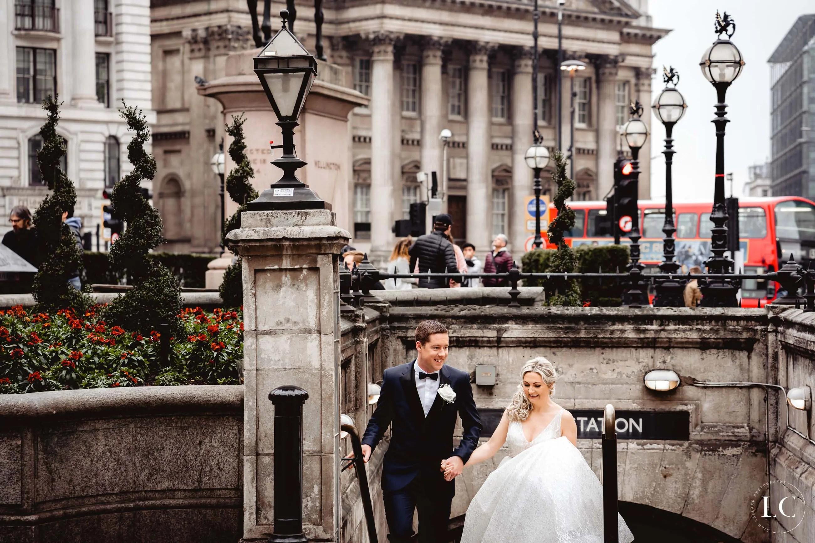 London couple walking in London