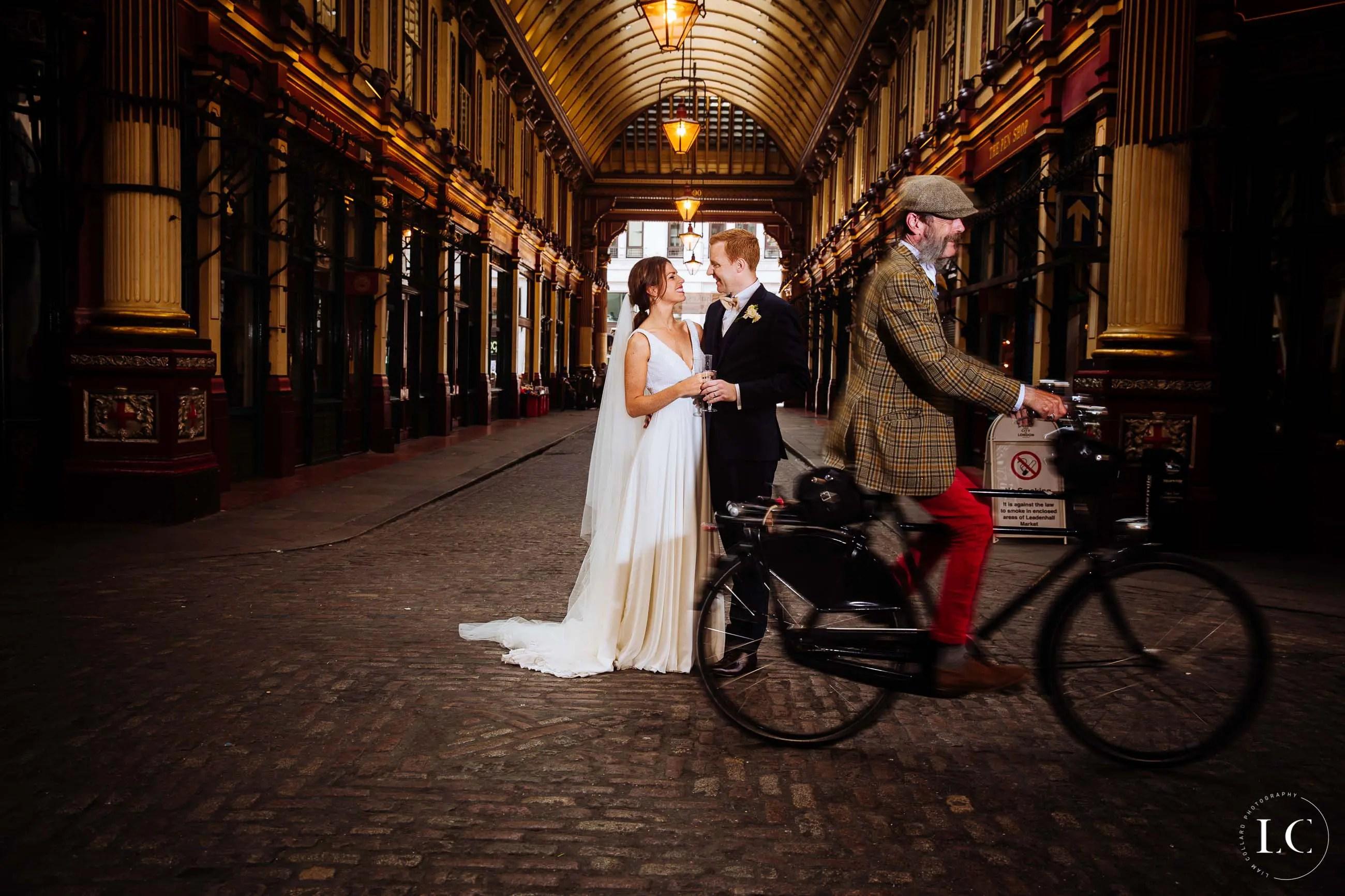 Bride and groom standing in London street