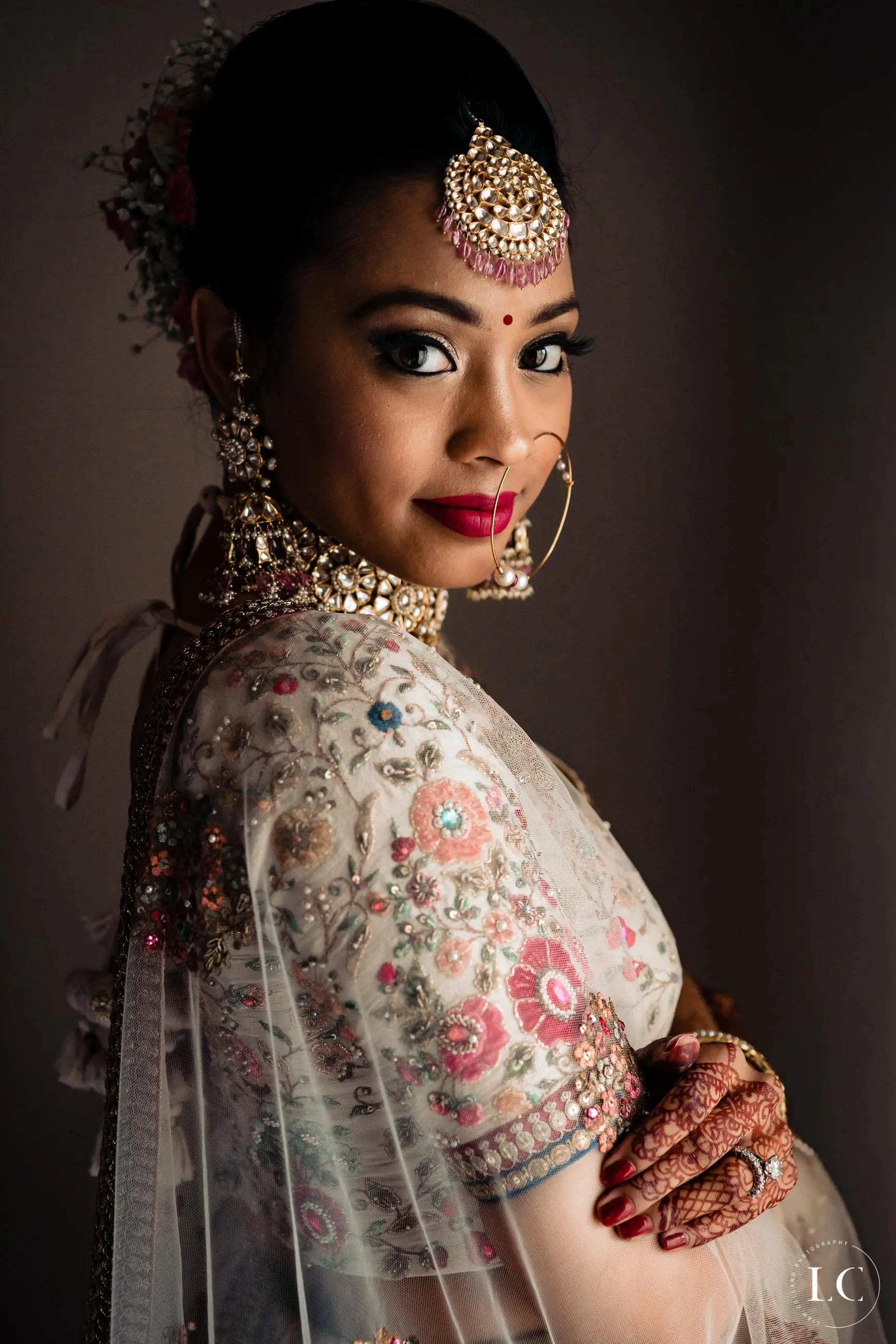 Candid shot of bride at Indian wedding