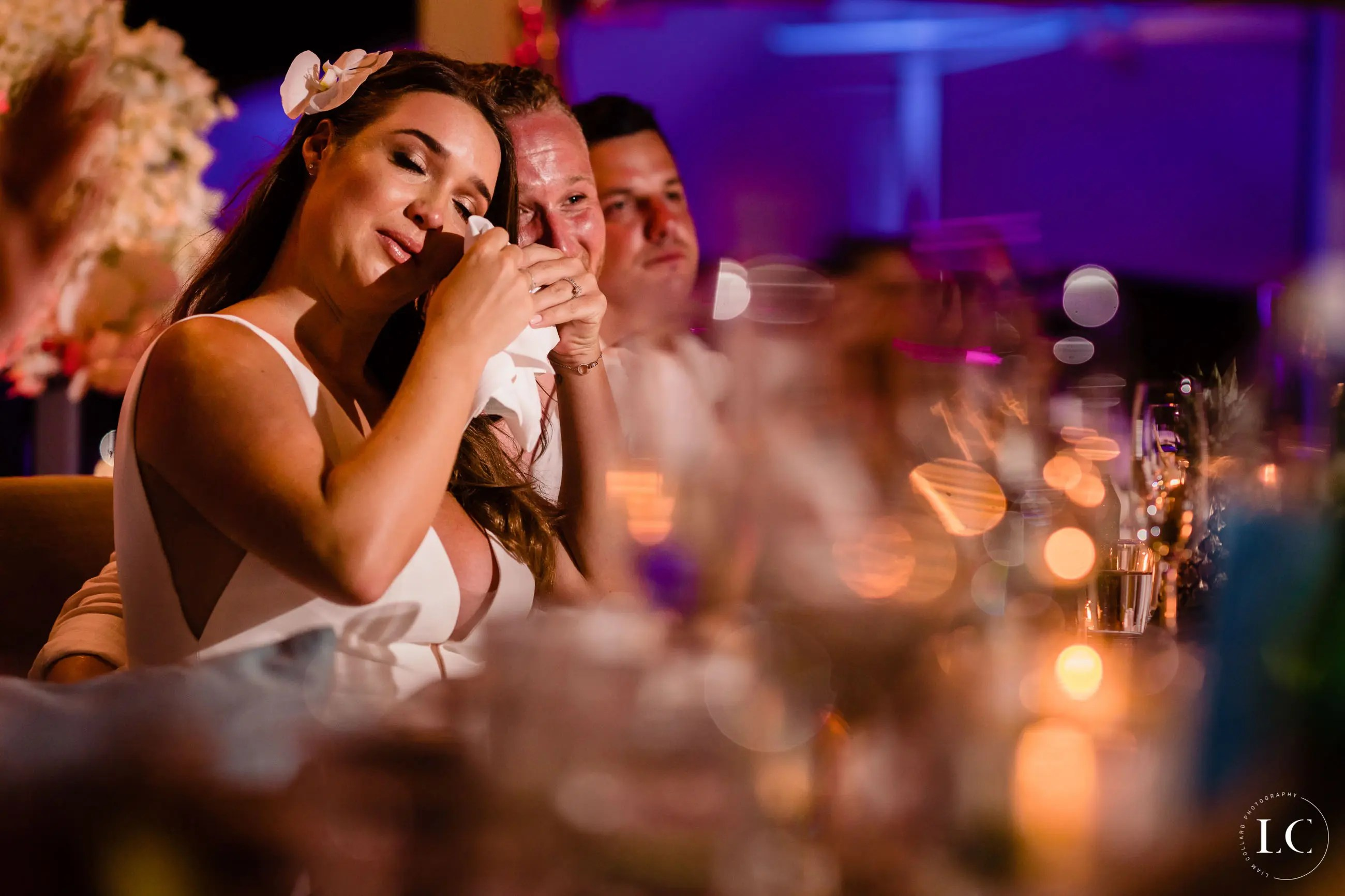 bride crying during wedding speech