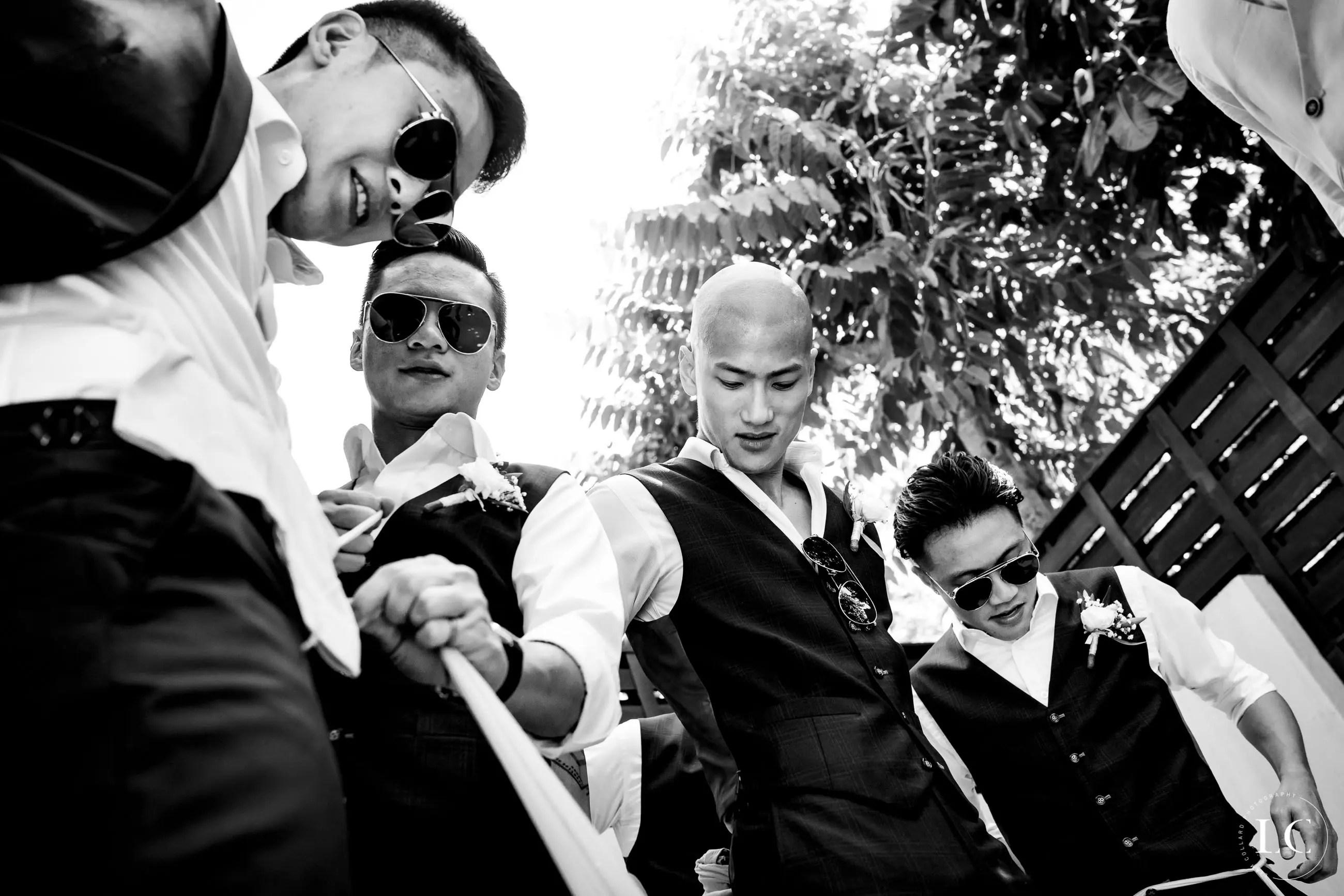 Groomsmen together at wedding