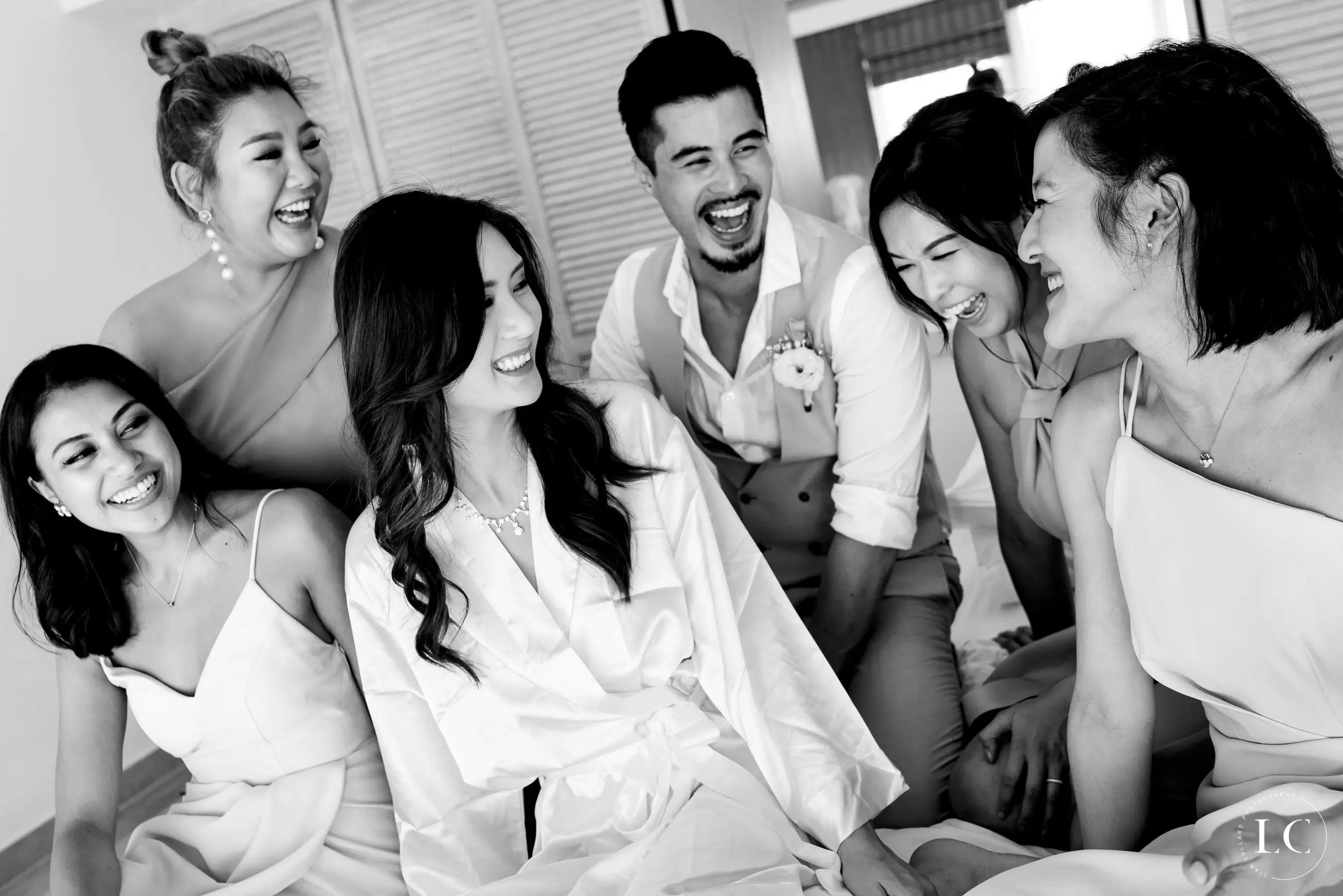 Bride surrounding by friends