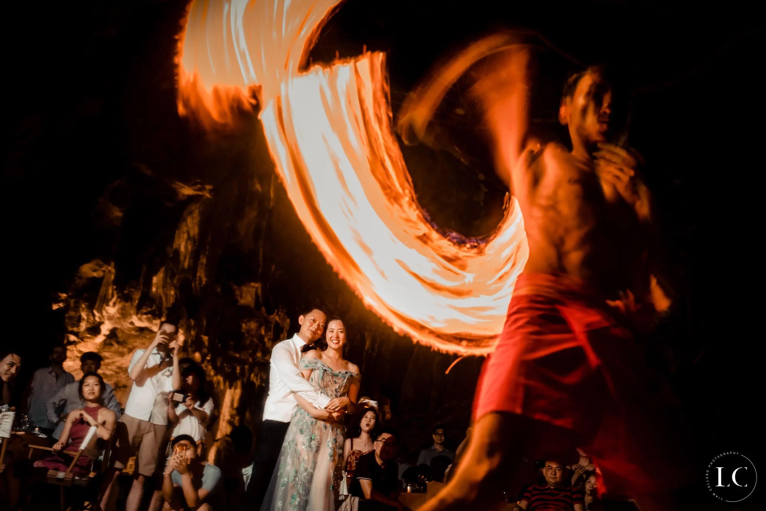Fire show at a wedding