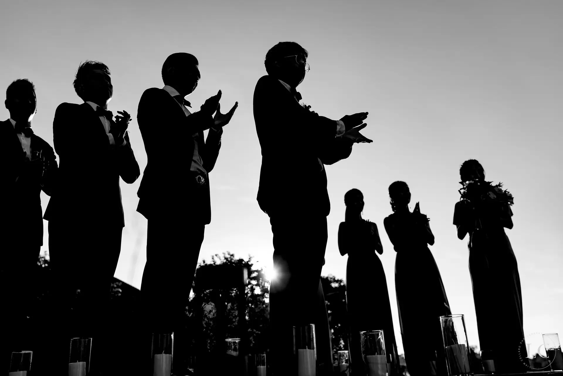 Bridesmaids and groomsmen shadow