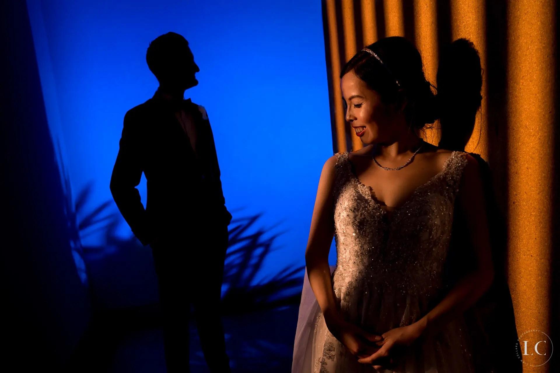 Bride and groom shadows