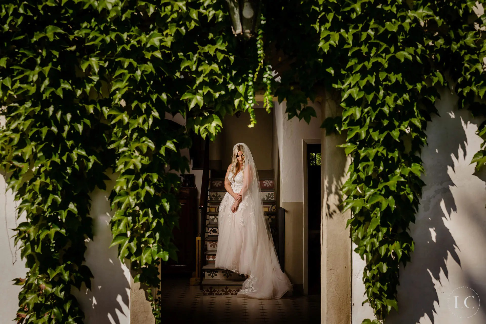 Bride standing outside