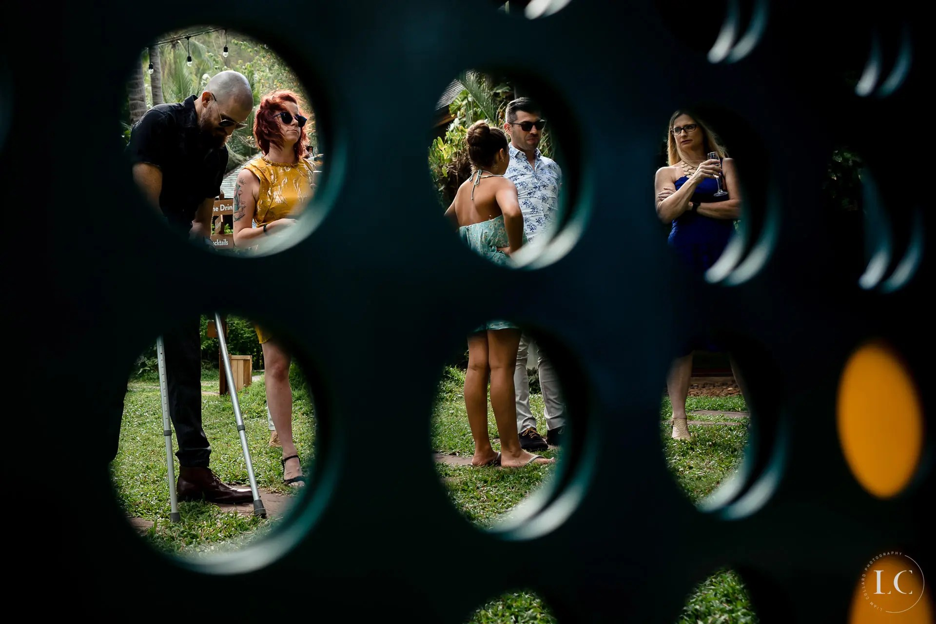 Distorted view of bridal party