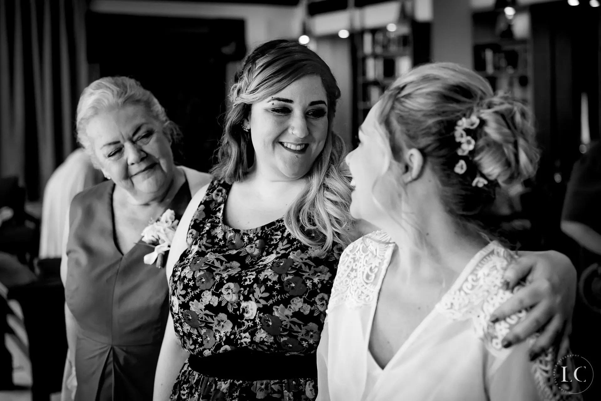 Bride and girlfriends