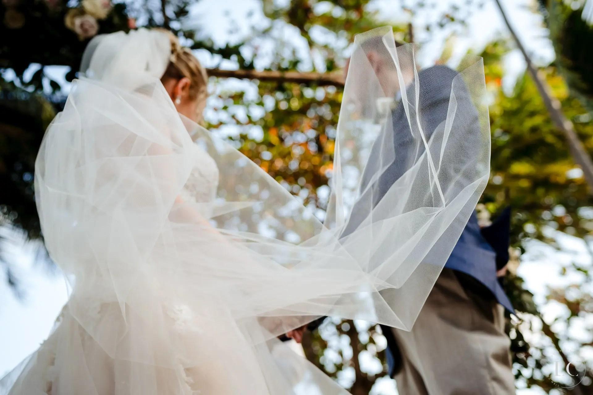 Bride's veil at the altar