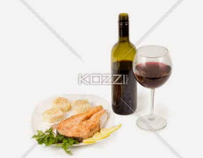 Red Wine And Salmon Steak