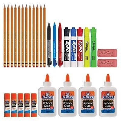 Back to School Supply Kit Sharpie Highlighters Paper Mate Pens EXPO Dry Erase &