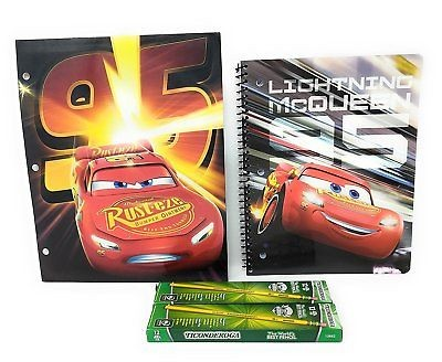 Lightning McQueen Back To School Bundle – Notebook, folder and pencils