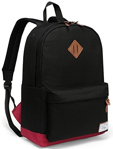 School Backpack, Kasqo Water-Resistant Classic Backpack for Men Fits 14 inch Laptop Casual Daypack for Teenagers Bookbag Black and Red