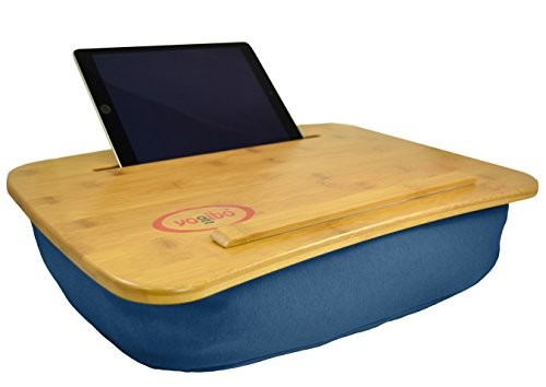 The Perfect LapTop or Tablet Lap Desk – Bamboo Top- Built in Slot for Ipad or Phone and Table Top for a Laptop- Idea for Back To School or Home Office. Yogibo Traybo 2.0 (Blue)