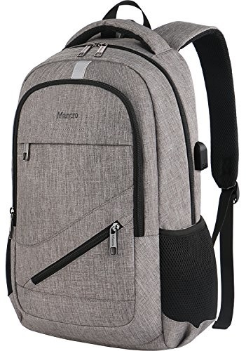 e41ac005e35b Business Laptop Backpack, Mancro Slim Anti Theft Durable Travel Bag with  USB Charger Port Fit Up To 17