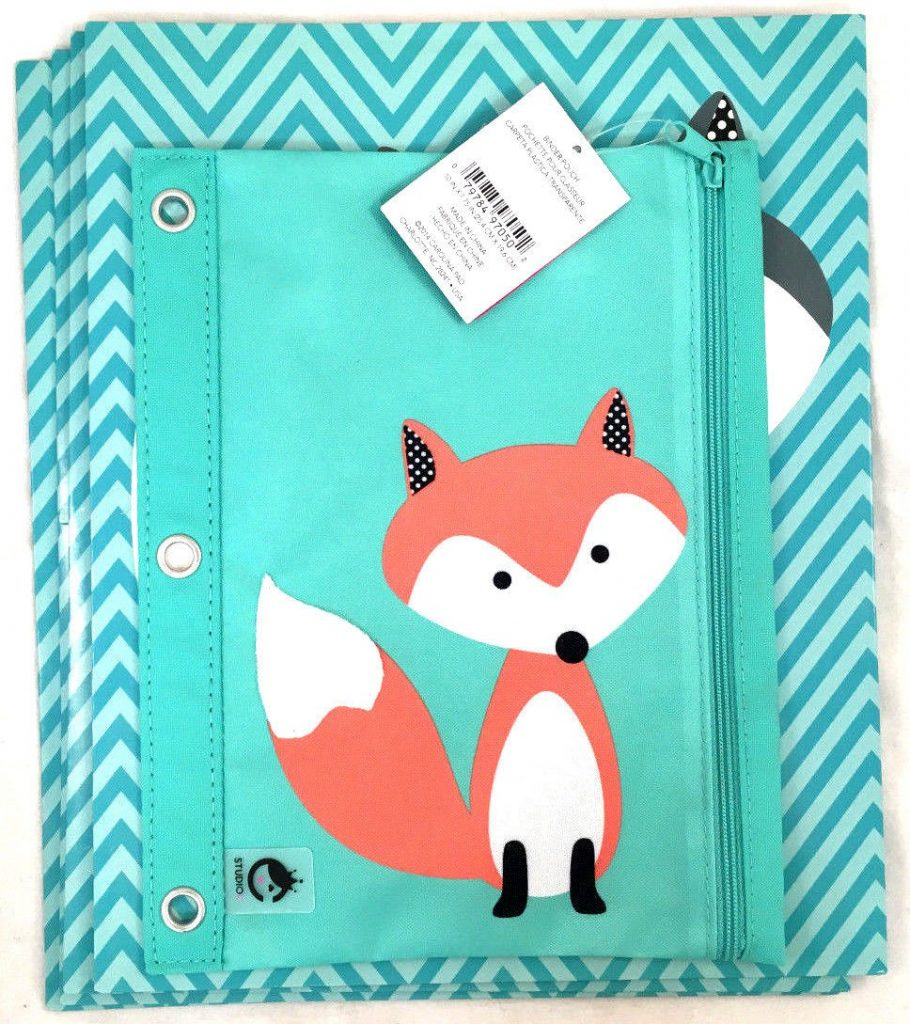(5) Studio C Back To School Fox Folders Pencil Pouch School Supplies Variety