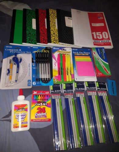 Back to School Pens, Pencils, Paper Supply Bundle Box Wide Ruled