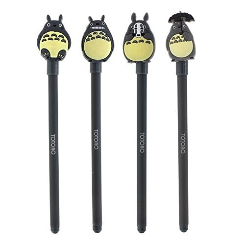 Baring 4 Pcs Funny Black Totoro Design 0.38mm Black Ink Gel Pen Set Holiday Birthday Gift Back to School Essential