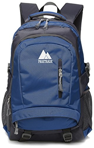 School Backpack BookBag For College Travel Hiking Fit Laptop Up to 15.6 Inch Water Resistant (Navy Blue)