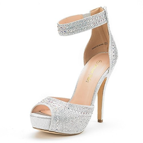 ff0a0e42849 Dream Pairs Women's Swan-05 Shine Silver High Heel Plaform Dress Pump Shoes  - 8 M US