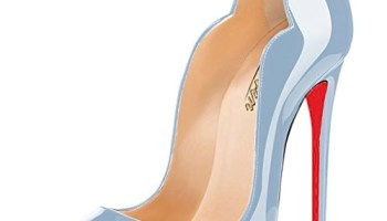 c825379fa9 Modemoven Women's Pale Blue Patent with Red Soles Sexy Point Toe High Heels,Patent  Leather