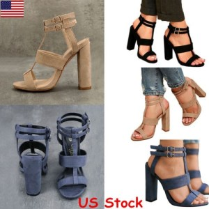 buy popular 8f557 a0d49 Women Buckle Block High Heels Sandals Open Toe Ankle Strap Party Club Shoes  USA