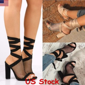 uk availability d1fd0 a1f73 US Women Mesh Peep Toe Block High Heel Sandals Party Lace Up Slingback Shoes  New