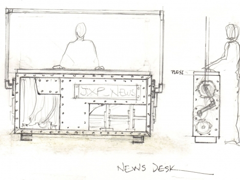 News desk concept sketch by Zeynep Bakkal