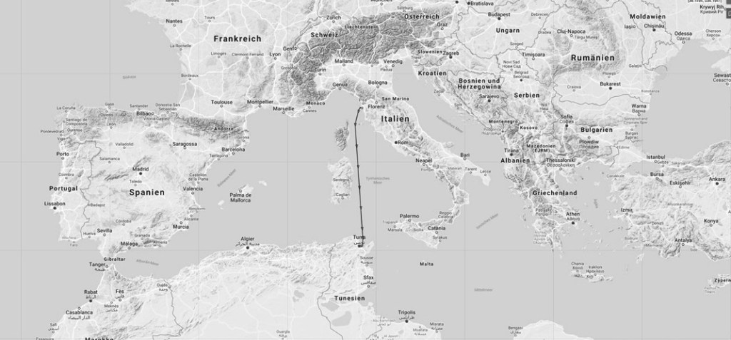 Live tracked Cologne lantern cargo shipment Livorno / Tunis, 11-12th July: SALAMMBO, MMSI: 672247000