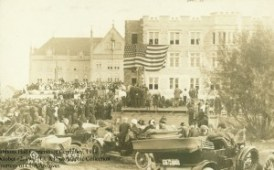 Image is from postcard celebrating the corner stone laying of Gibbons Hall, October 12, 1911