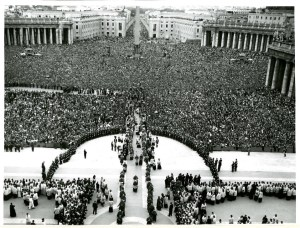 Imagine this scene transposed onto campus yesterday. Canonization Mass for St. Mary Gorreti, 1950. (Courtesy: Archbishop Martin J. O'Connor Papers)