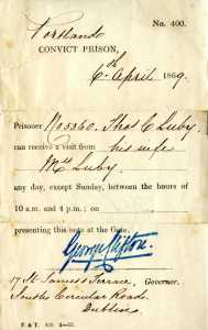 Prison Pass, April 6, 1869. Thomas C. Luby Papers, American Catholic History Research Center and University Archives.