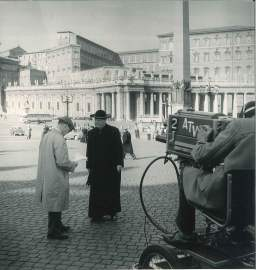 O'Connor was not afraid to get in front of the camera. Filming in St. Peter's Square for the CBS Series, Person-to-Person, 1960.