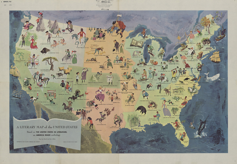 Clark Library Literary Maps   Literature of the United States     A Literary Map of the United States  Based on  The United States in  Literature