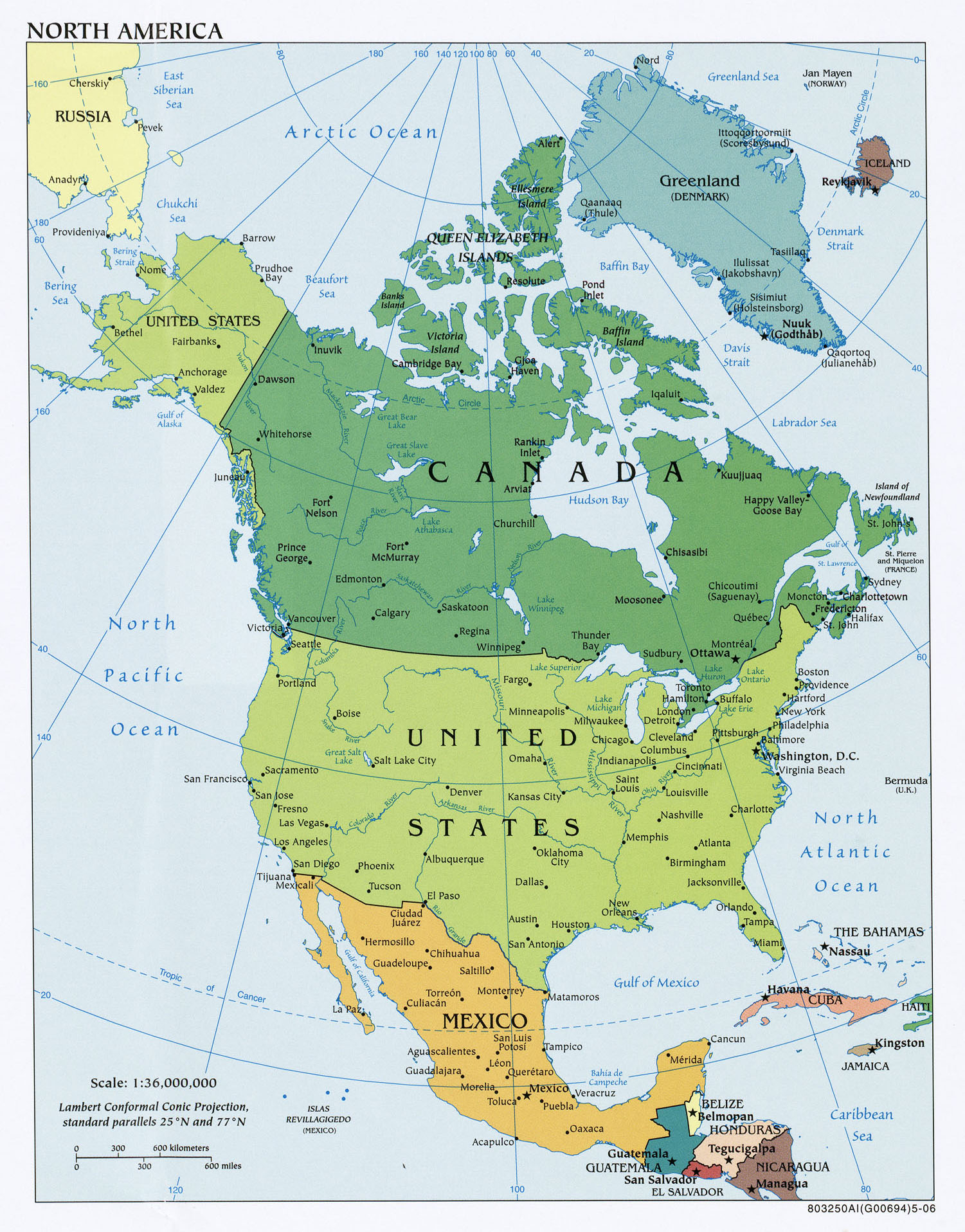 North America Detailed Political Map Image Set By