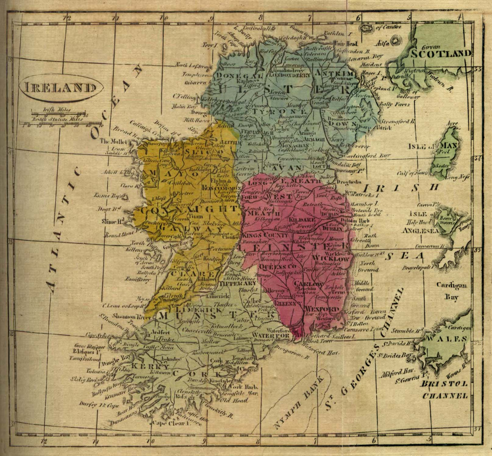 The Irish Ancestral Research Association  TIARA    Links     Map of Ireland 1808