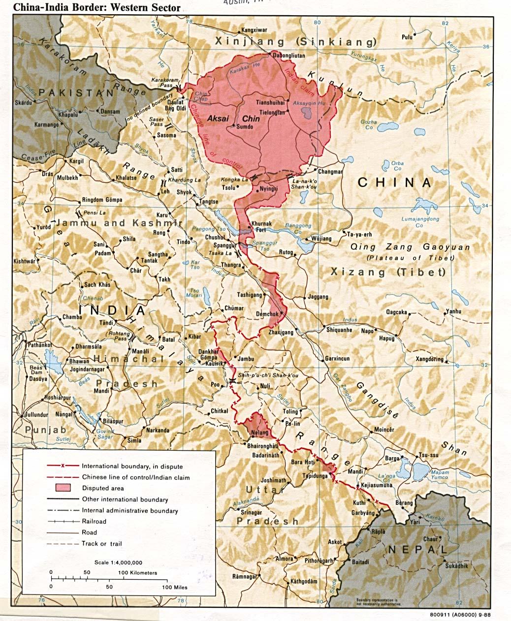 Les territoires disputés de l'Aksai Chin (aujourd'hui État de Jammu & Cachemire) © Université d'Austin, Texas