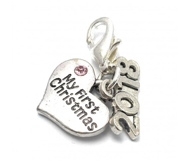 My First Christmas  Baby Girl Clip On Charm Keepsake Charms