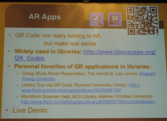 Use of QR Codes in AR
