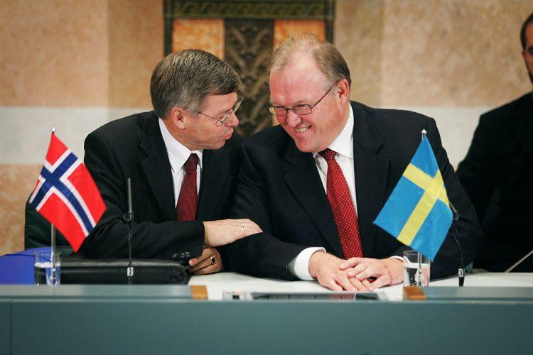 Norges statsminister, Kjell Magne Bondevik og Sveriges statsminister, Göran Persson,på møte i Nordisk Råd i Stockholm i 2004. Foto Magnus Fröderberg CC.BY.