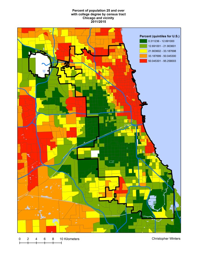 Percent of population 25 and over with college degree by census tract, Chicago and vicinity, 2011/2015
