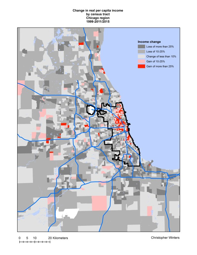 Change in real per capita income by census tract, Chicago region, 1999-2011/2015