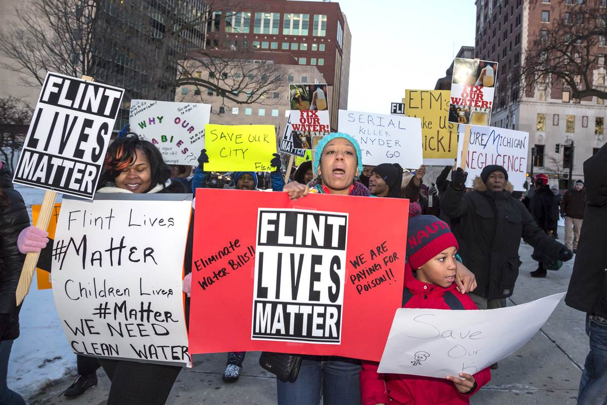 Demonstration against poisoned water in Flint, USA