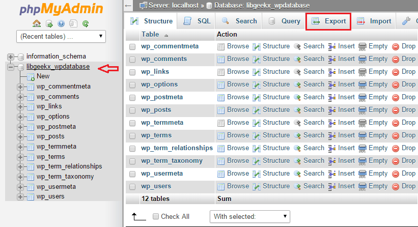 phpmyadmin backup via cpanel